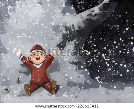 happy baby in winter park with Santa costume, digital painting illustration - stock photo