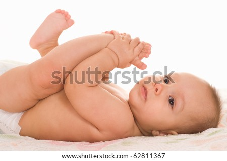 happy baby on a white background