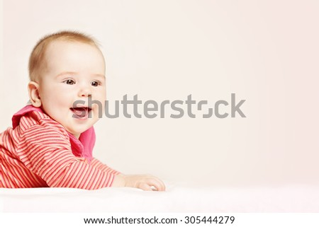 Happy Baby on Background. Cute Little Baby, 6 months - stock photo