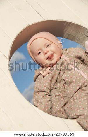 happy baby outdoor - stock photo