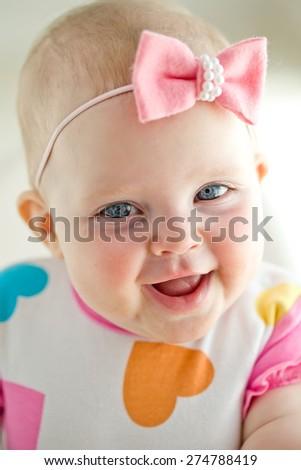 happy baby portrait - stock photo