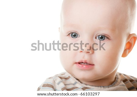 happy baby portrait isolated on white background