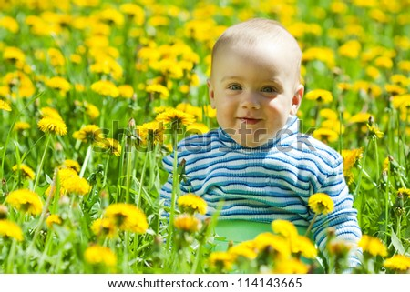 happy baby sitting in flowers meadow