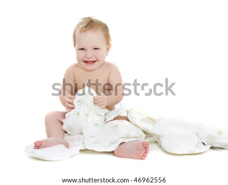 happy baby with diapers over white - stock photo
