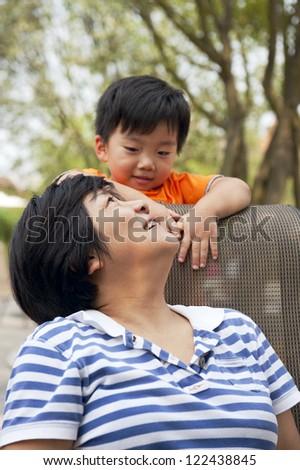 happy baby with his aunt - stock photo