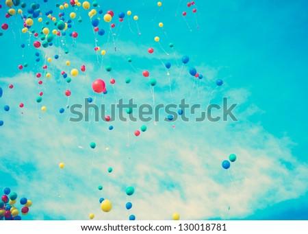 Happy Balloons flying - stock photo