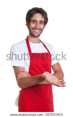 Happy barkeeper inviting his guests - stock photo