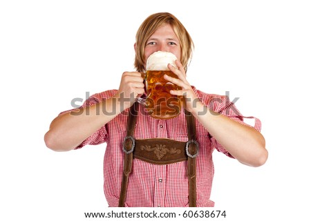 Happy Bavarian man drinks out of oktoberfest beer stein. Isolated on white background. - stock photo