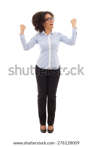 happy beautiful african american business woman celebrating something isolated on white background - stock photo
