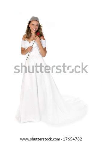 Happy Beautiful Bride Smiling Holding a Red Rose - stock photo