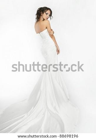Happy beautiful bride white background up cloth, white - stock photo