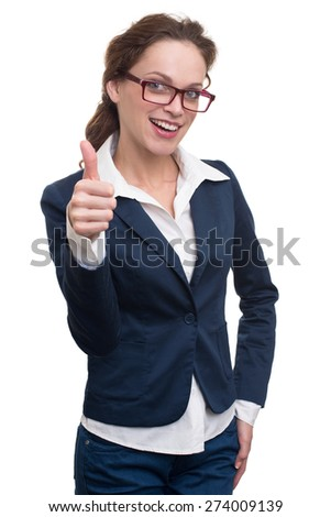 Happy beautiful business woman in glasses showing thumb up symbol. Isolated on white background - stock photo