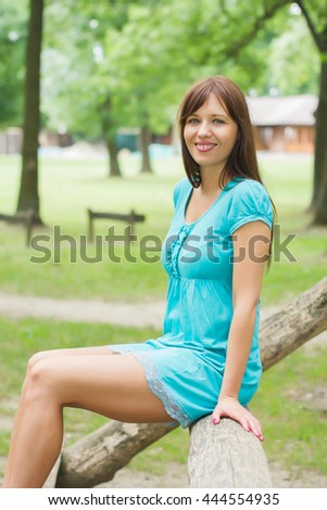 Happy, Beautiful, Carefree , Freedom Young Woman Portrait. Attractive caucasian female enjoying nature. - stock photo