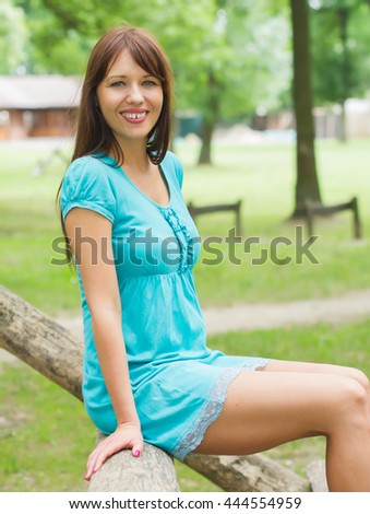 Happy, Beautiful, Carefree , Freedom Young Woman Portrait. Attractive caucasian female enjoying nature.