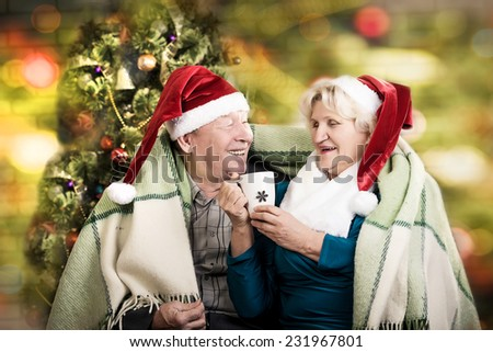 Happy beautiful elderly couple celebrating new family, holidays, christmas, age and people concept - happy senior couple in santa helper hats sitting on sofa over living room - stock photo