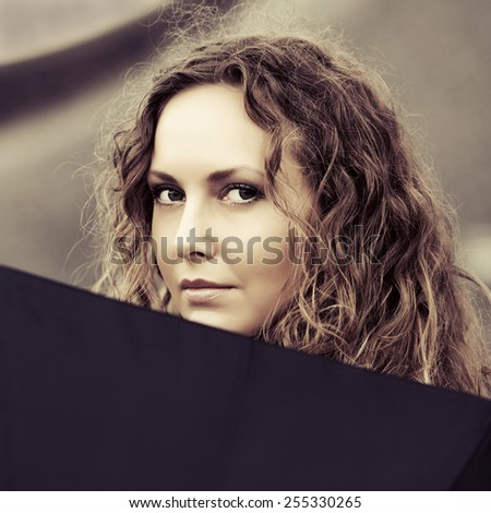 Happy beautiful fashion woman with umbrella - stock photo