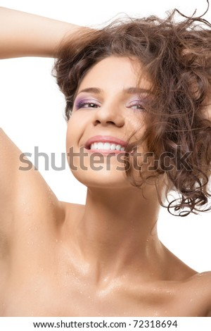 Happy beautiful girl with water drops on her skin after shower, over white background