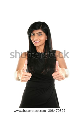 Happy beautiful Indian girl showing thumb up symbol by two hands. Isolated on white background. - stock photo