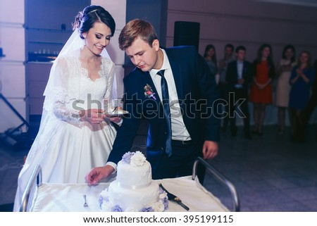 Happy beautiful newlyweds cutting delicious white wedding cake at reception