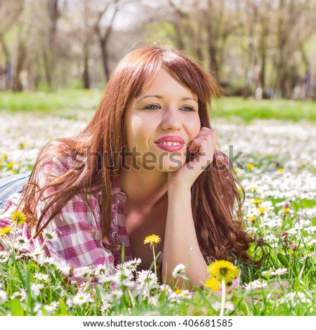 Happy beautiful spring young woman enjoying nature , carefree lifestyle outdoor. - stock photo