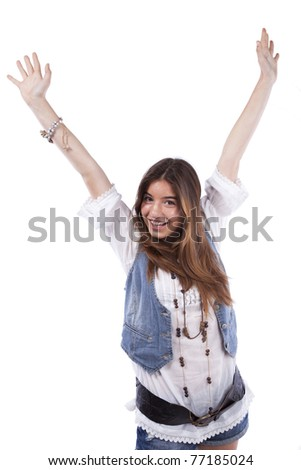 Happy beautiful teenager woman with her arms up (isolated on white) - stock photo