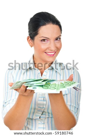 Happy beautiful woman offering you a lot of euro money in her palms and smiling  isolated on white background - stock photo