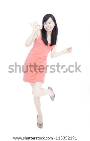 happy beautiful woman showing ok sign, isolated on white background