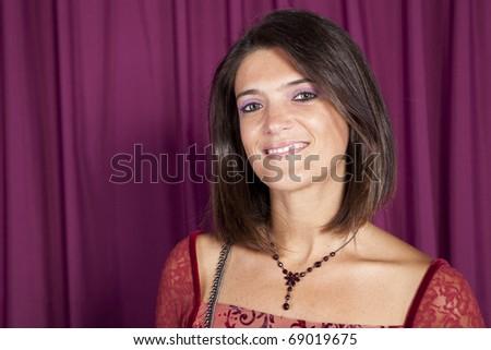 Happy beautiful woman smiling - stock photo