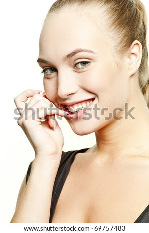 Happy beautiful woman with health skin of a face on white background - stock photo