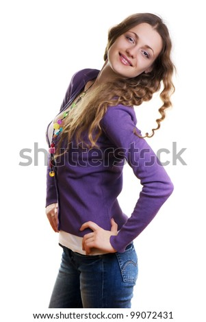 Happy Beautiful young Woman in white shirt and purple sweater - stock photo