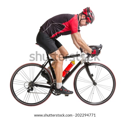 happy bicyclist holding a bicycle isolated on white background  - stock photo