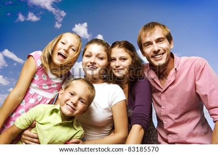 Happy Big Family - stock photo