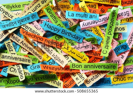Happy Birtday  Word Cloud printed on colorful paper different languages