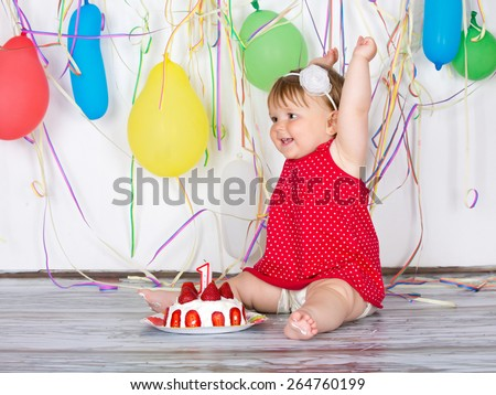 Happy birthday baby, Little girl with group balls and cake. - stock photo