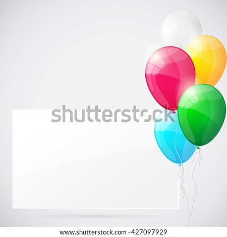 Happy birthday background with balloons.. Illustration. - stock photo