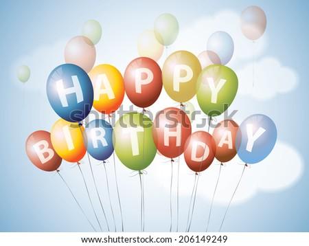 Happy birthday balloons - stock photo