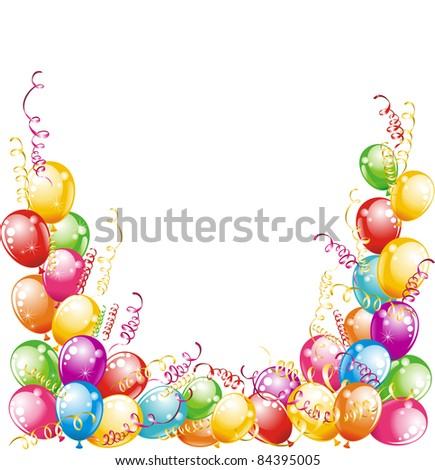 Happy birthday! Balloons and confetti isolated on white background - stock photo