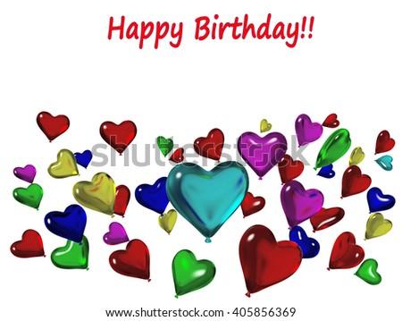 happy birthday balloons, invitation, colors, 3d rendering - stock photo
