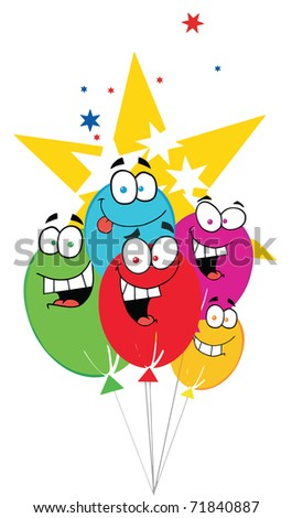 Happy Birthday Baloons With Stars - stock photo