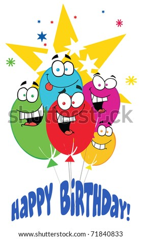 Happy Birthday Baloons With Stars With Text Happy Birthday! - stock photo