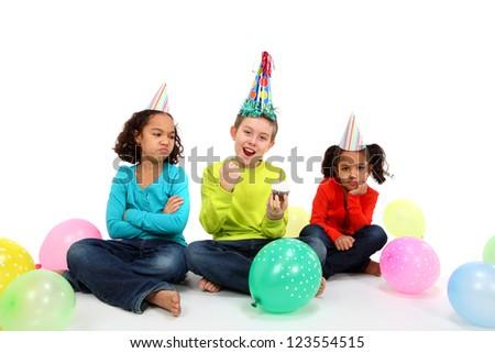 Happy Birthday Boy with jealous friends - stock photo