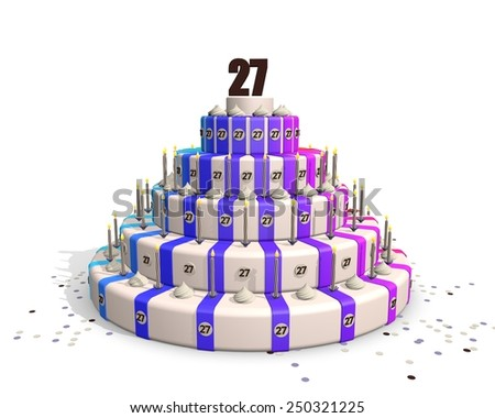 Happy birthday cake with candles, confetti and on top a chocolate number 27 - stock photo