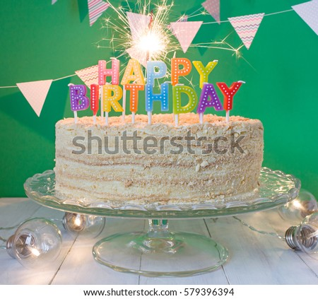 Happy Birthday Cake Sparklers Greeting Card Stock Photo Royalty