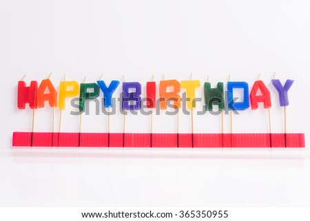 Happy birthday candle on white background