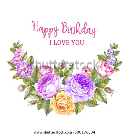 Happy Birthday Card Beautiful Bouquet Over Stock Illustration