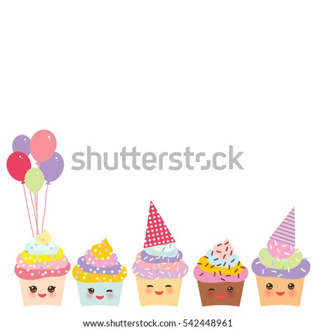 Happy Birthday Card Design Cupcake Kawaii Stock Vector 313563962