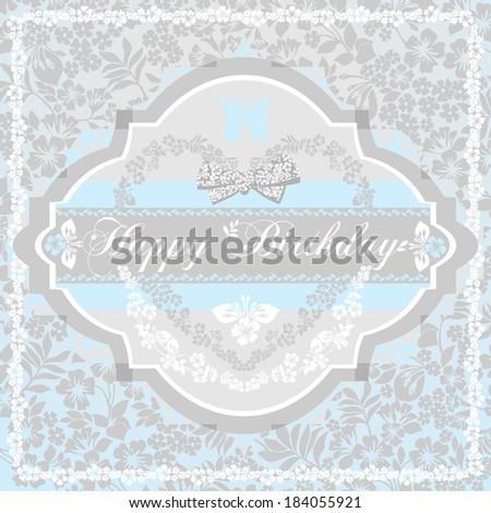 Happy birthday card for boys. Blue , gray, white shabby color.  Raster Version.  - stock photo