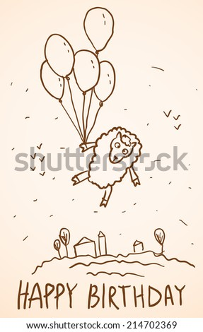 Happy birthday card Funny sheep with balloons, cityscape. Sketch  - stock photo