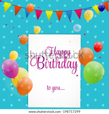 Happy Birthday Card  Illustration. EPS 10 - stock photo