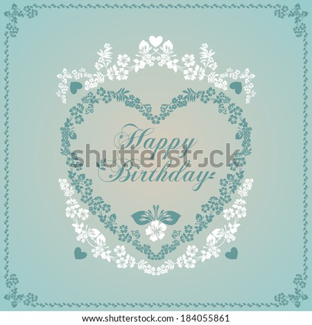 Happy birthday card in an old-style green and beige. Raster Version.  - stock photo